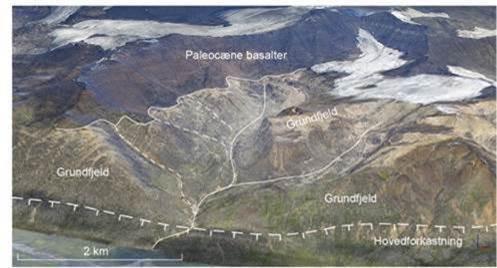3D-fotogeologisk tolkning af Uparuaqqusuitsutkløften på Svartenhuk Halvø, Vestgrønland (grafik: GEUS).